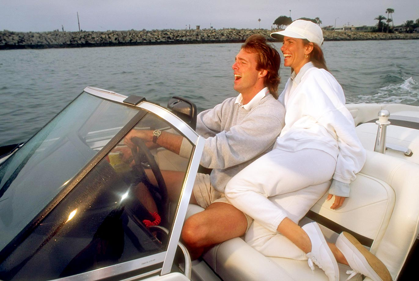 The Angels' pitcher cruises in a motorboat with his girlfriend, White Snake video girl Tawny Kitaen. They were married from 1997 to 2002, but Finley filed for divorce three days after Kitaen was arrested for domestic abuse.