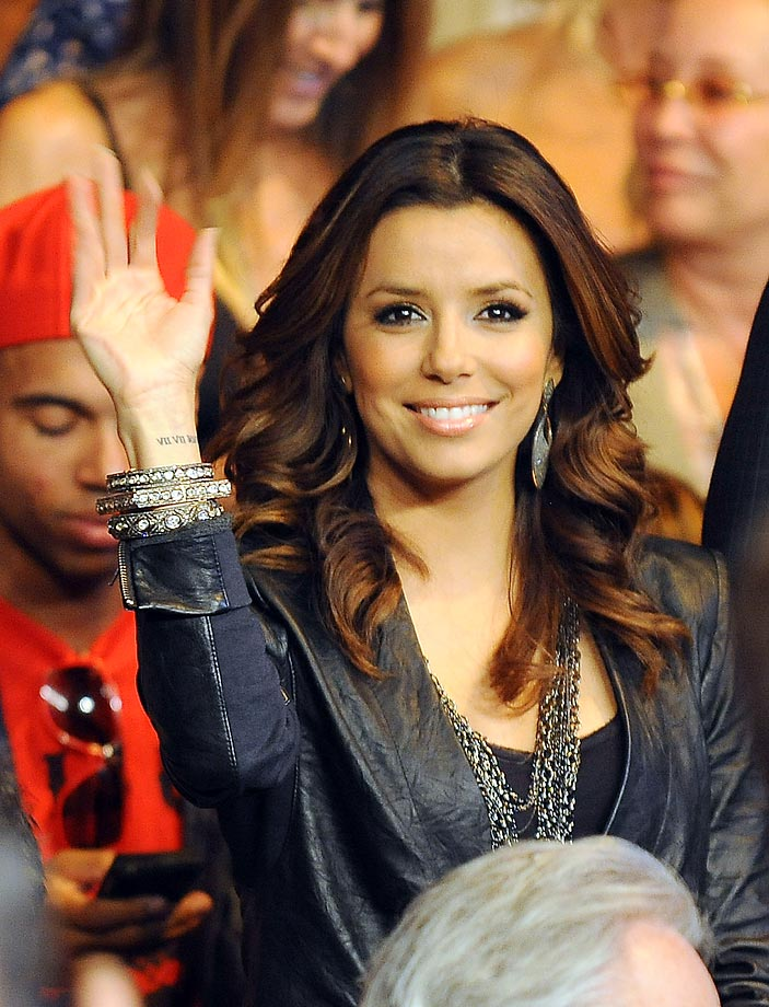 Eva Longoria-Parker attends the Floyd Mayweather--Shane Mosley welterweight fight.