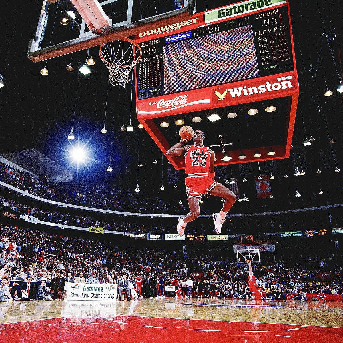 All-Star Weekend, Feb. 6, 1988 | Air Jordan takes off from the free throw line and soars to a perfect score of 50 to defeat Dominique Wilkins in the finals of the Slam Dunk Contest. It was the second straight title for the Bulls star, and the '88 contest is widely considered the best ever because of the duel between Jordan and Wilkins.