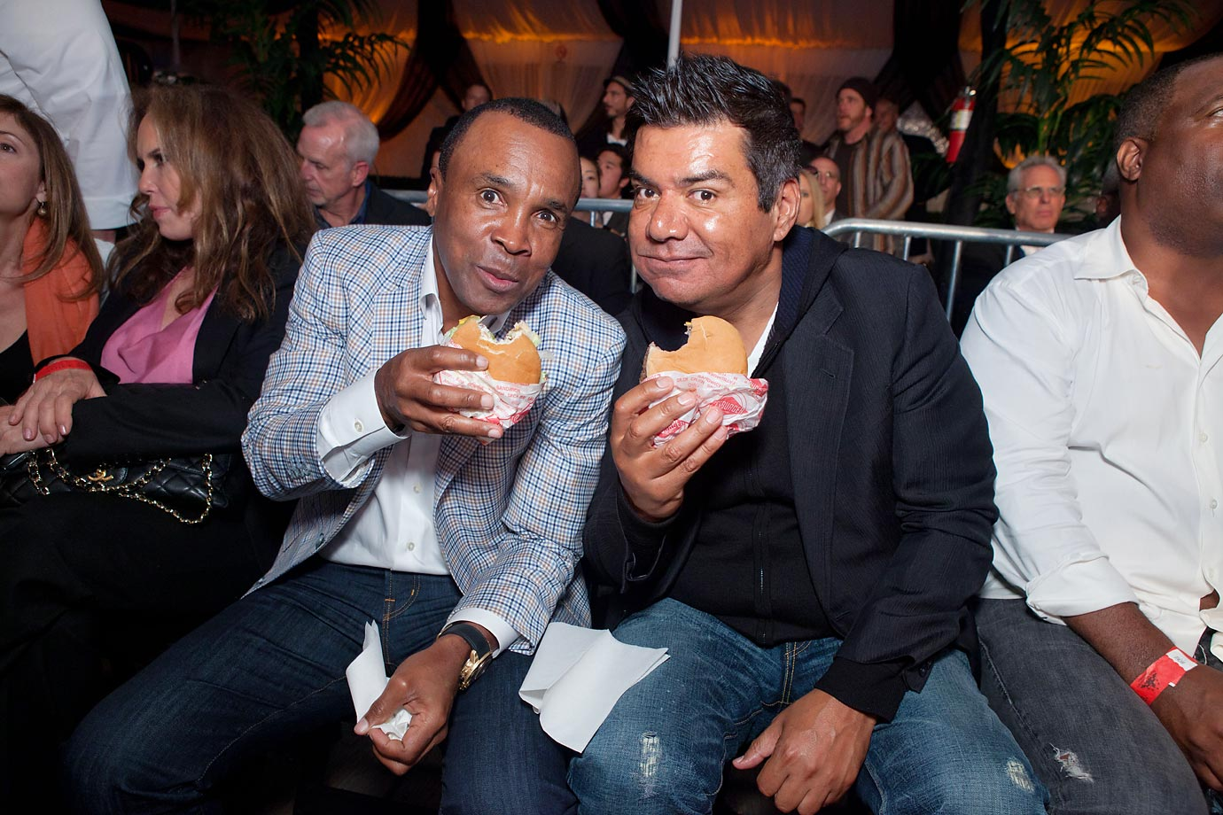Sugar Ray Leonard and George Lopez enjoy a FatBurger at Sugar Ray Leonard's 3rd Annual Charity Boxing Night.