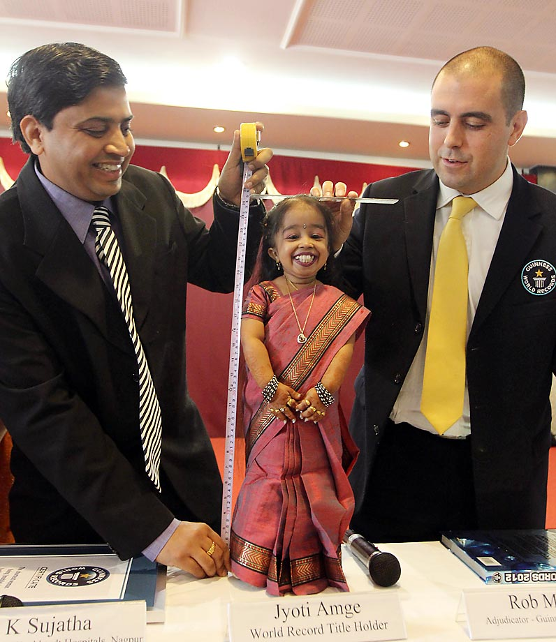 Jyoti Amge of Nagpur, India, is confirmed on her 18th birthday to be the world's shortest woman (24.7 inches) by Guiness World Records. After she finishes high school, Amge hopes to earn a college degree and become a Bollywood film star.