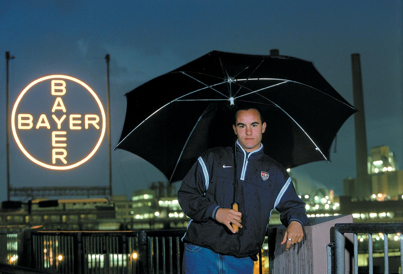 Landon Donovan poses in front of the Bayer pharmaceutical plant in Cologne, Germany. He had a brief stint with German Bundesliga side Bayer Leverkusen.