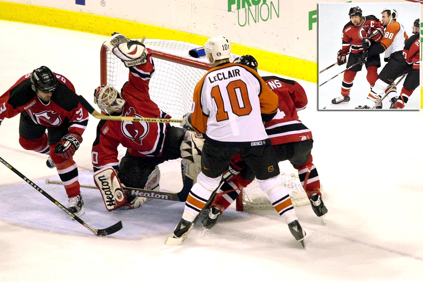 After falling behind in the series, 3-1, the Devils slammed the door on the Flyers. Martin Brodeur was brilliant as the Devils won both Game 6 and Game 7 by 2-1 scores. Game 7 was played in Philadelphia and Flyers fans will never forget the sight of Devils defenseman Scott Stevens drilling Eric Lindros (inset) as the Flyers captain crossed the blue line with his head down early in the first period. Patrik Elias scored the decisive goal for the Devils in the third period.