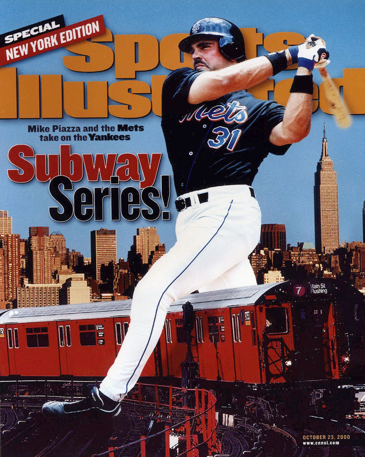 Mike Piazza appears on the cover of SI for the Subway Series in Oct. 2000.