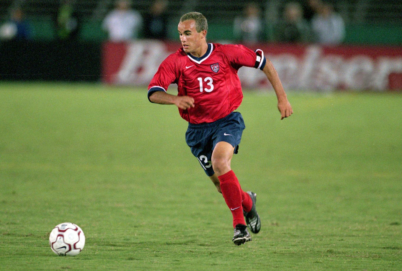 Landon Donovan runs after the ball during a game against Mexico at the Los Angeles Coliseum. The USA defeated Mexico 2-0.