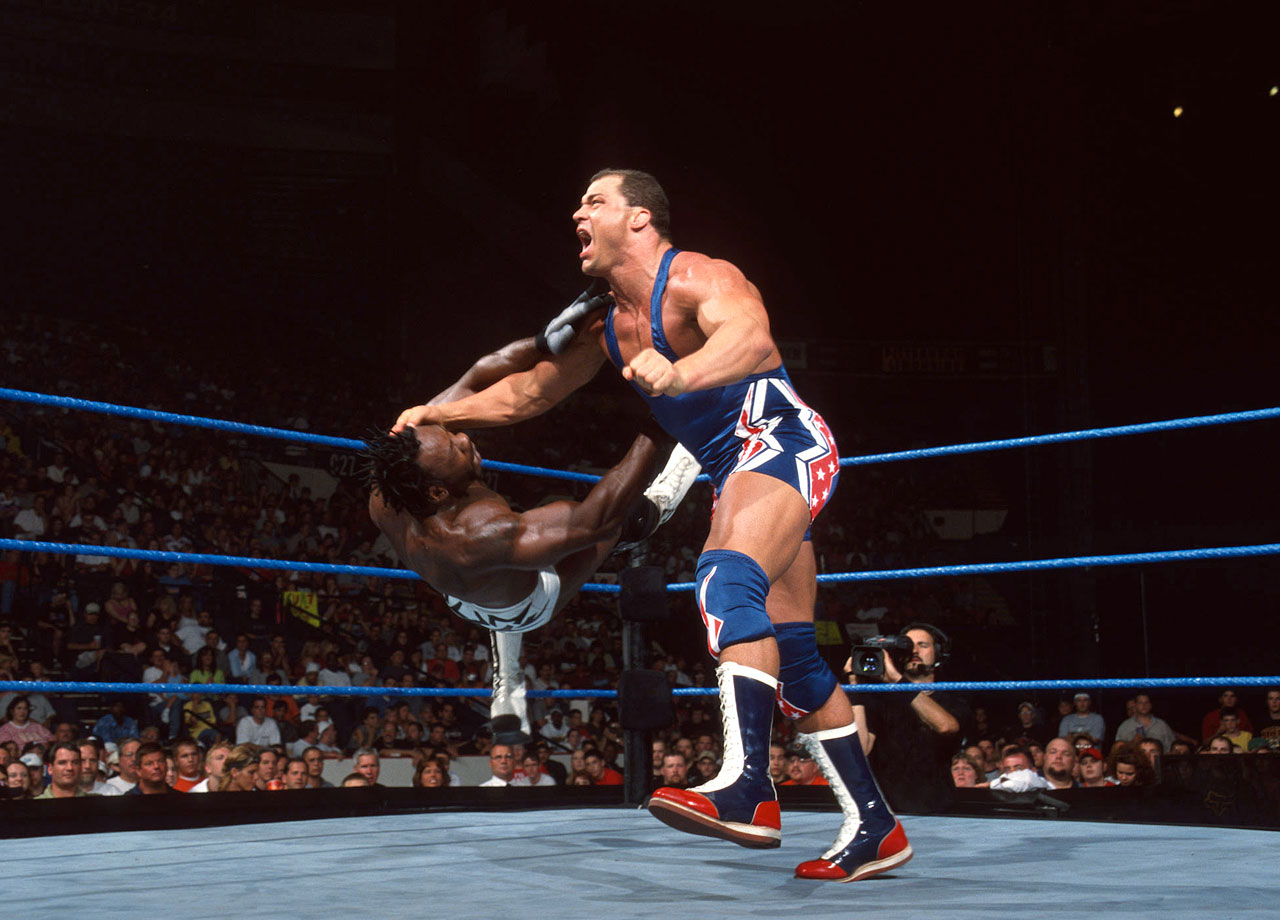 Kurt Angle defeats Booker T for the WCW World Heavyweight Title.