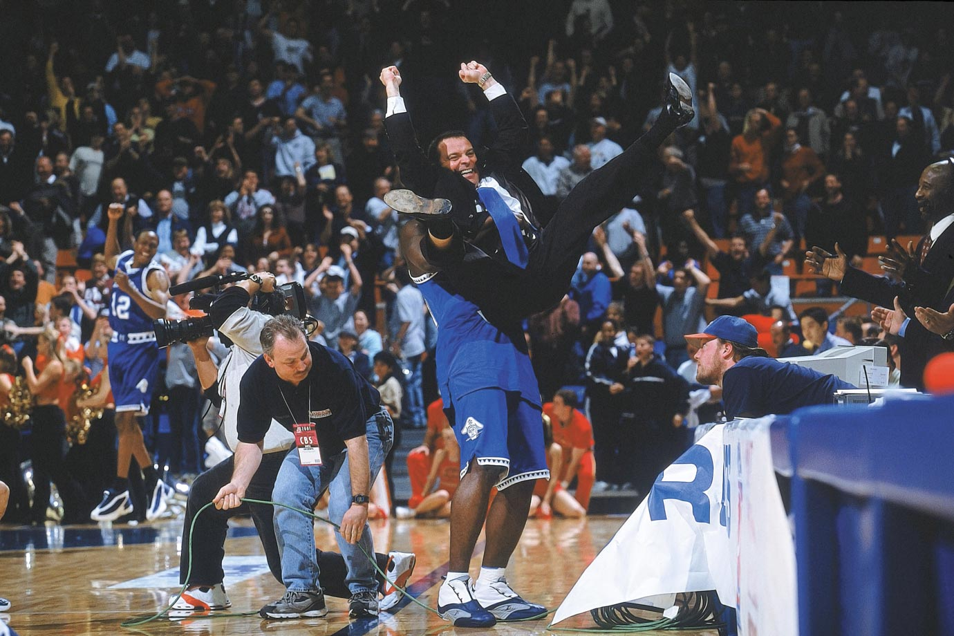 This first-round shocker produced one of the most indelible images in NCAA tournament history: Hampton coach Steve Merfeld pumping his arms and legs in jubilation as a player lifts him off the ground following the 15th-seeded Pirates 58-57 victory over the No. 2 Cyclones.