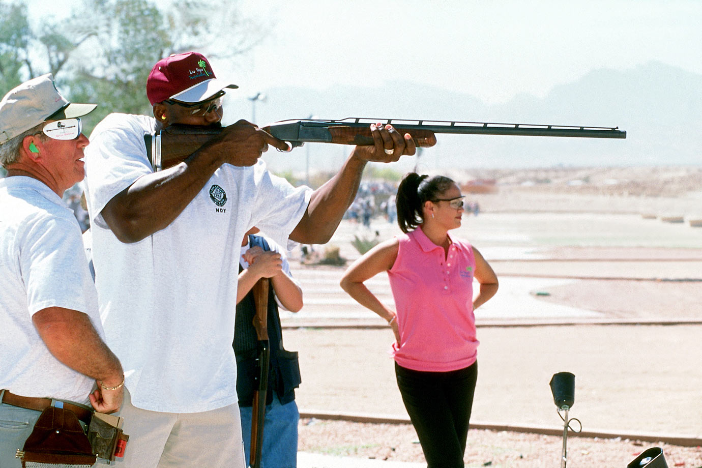 Karl Malone shows off his shooting form.