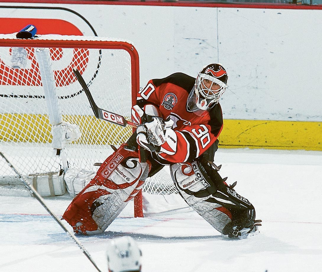 "In Game 1 of the 1997 Eastern quarterfinals vs. Montreal, Brodeur joined Philadelphia's Ron Hextall as the only goaltenders to score in the postseason by shooting the puck into the net. Brodeur's prowess with the stick and fondness for roaming from his crease to play the puck led to the current ""Brodeur Rule"" that confines such activity by goalies to a trapezoid that is eight feet out from each goal post and 28 feet wide at the boards behind the net."