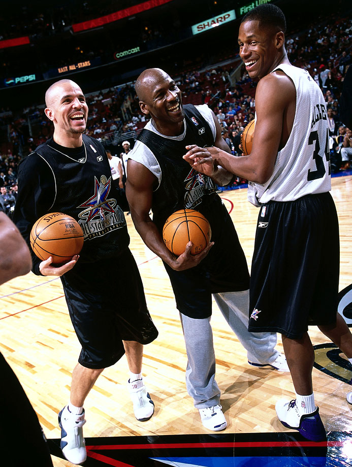 Jason Kidd, Michael Jordan and Ray Allen joke around during practice before the All-Star Game in Philadelphia.