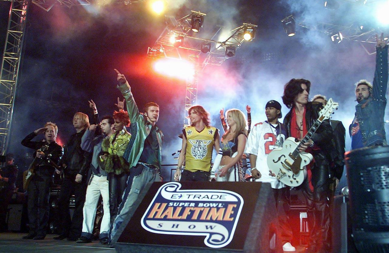 *NSYNC, Aerosmith, Britney Spears, Mary J. Blige and Nelly perform during the halftime show at the Super Bowl XXXV in Tampa, Fla., on Jan. 28, 2001.