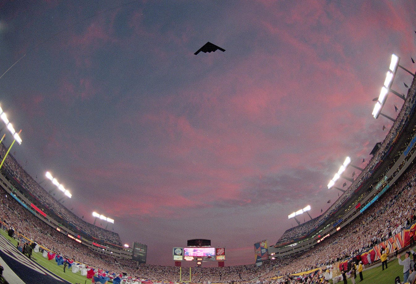 A Stealth bomber flies over Raymond James Stadium in Tampa, Fla., before the Super Bowl XXXV matchup between the Baltimore Ravens and New York Giants.