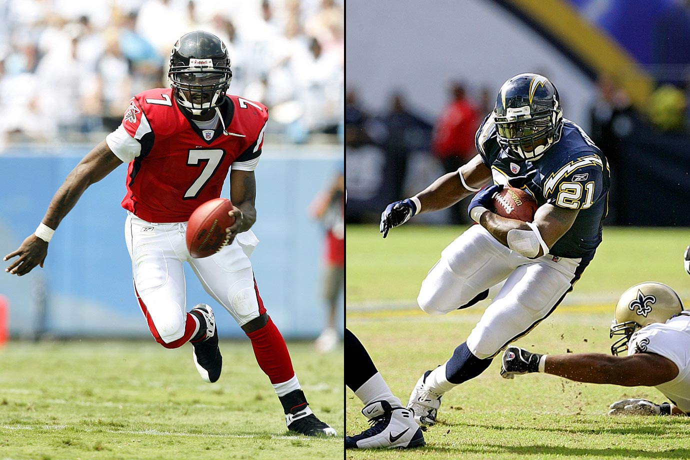 Chargers trade the first pick in the draft to the Falcons for the fifth pick in the first round, the fifth pick in the third, a future second-round pick and receiver Tim Dwight In what turned out to be a stroke of brilliance, the Chargers dealt the top pick that Atlanta used to take Michael Vick and wound up with the greatest runner of his era, LaDainian Tomlinson (at No. 5), along with cornerback Tay Cody and wide receivers Reche Caldwell and Dwight. The cherry on top for the Chargers came with the first pick in the second round when another QB, Purdue's Drew Brees, came into the fold.