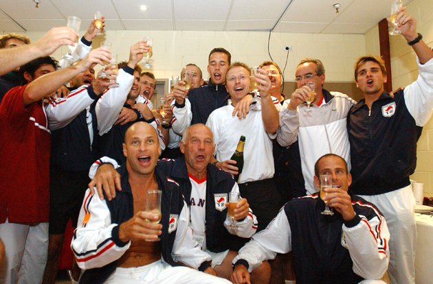 The victorious French Davis Cup team celebrates their win.