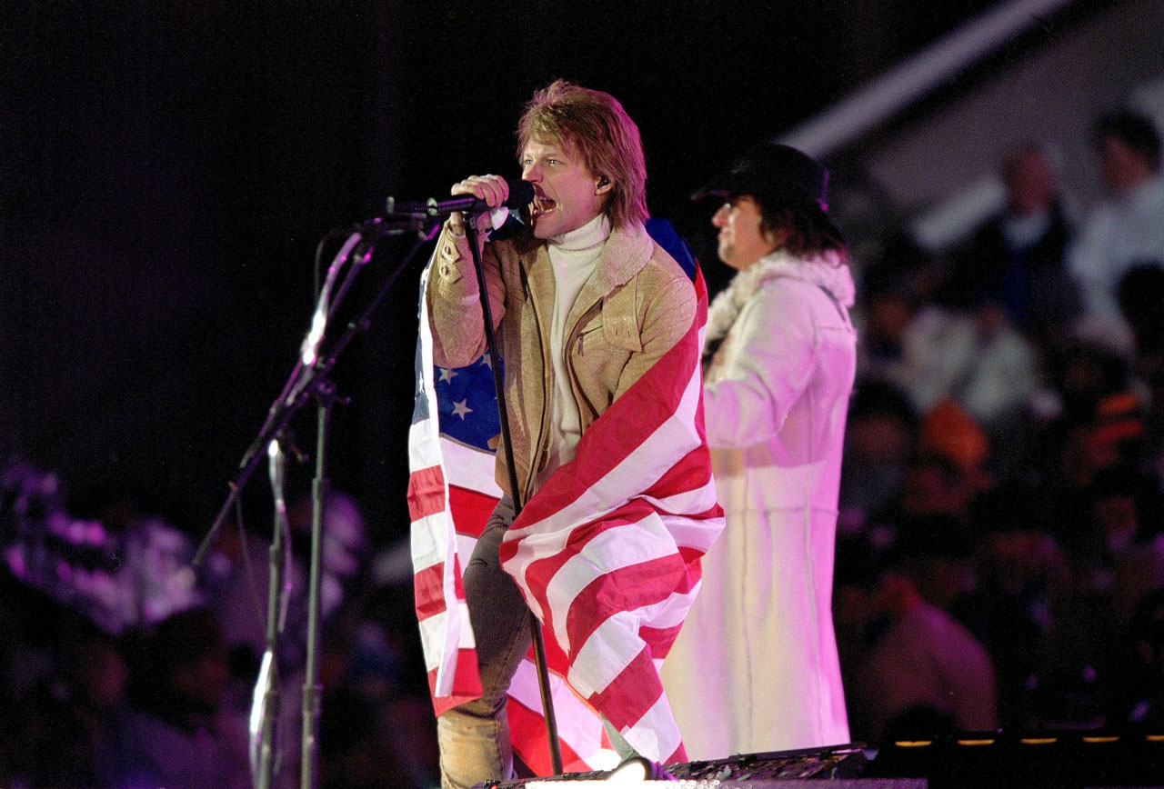Bon Jovi performs at the closing ceremonies of the Winter Olympics in Salt Lake City.