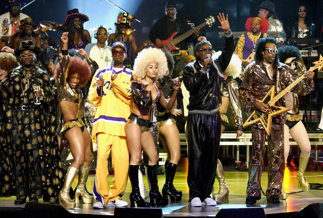 Snoop Dogg, Samuel L. Jackson and Bootsy Collins perform during the ESPY Awards on July 10, 2002 at The Kodak Theater in Hollywood, Calif.