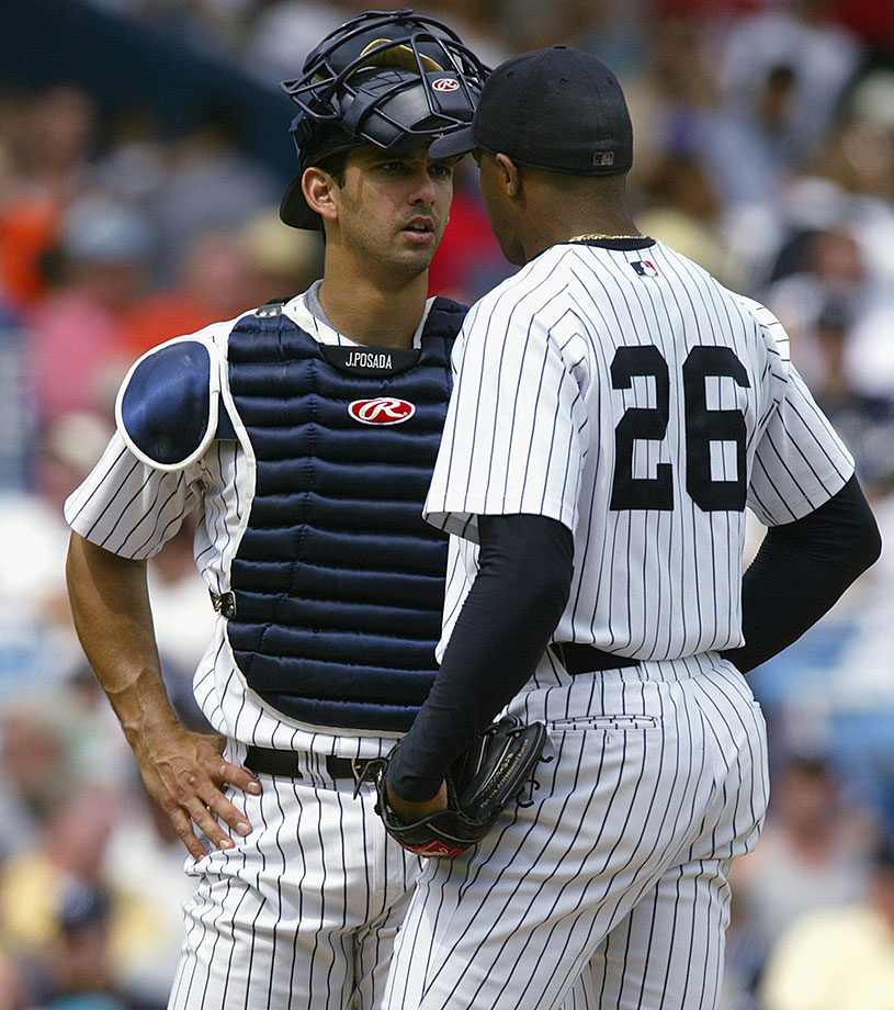 The Yankee battery had a prickly relationship that boiled over three days after a September 2002 game against Baltimore. El Duque accused his catcher of not informing him of an umpire's warning about the pitcher bringing his hand to his mouth while on the mound. As Hernandez chatted with teammate Raul Mondesi in the Yankees' clubhouse, Posada made a remark that drew a punch to his face.