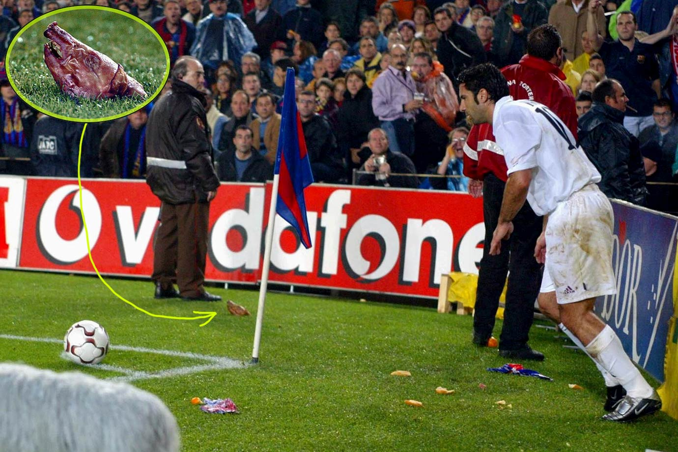Barcelona fans throw a legit pig's head onto the field aimed at Real Madrid's Luis Figo in a 0-0 draw. Figo had left Barcelona for Real Madrid in 2000, sparking the animosity.