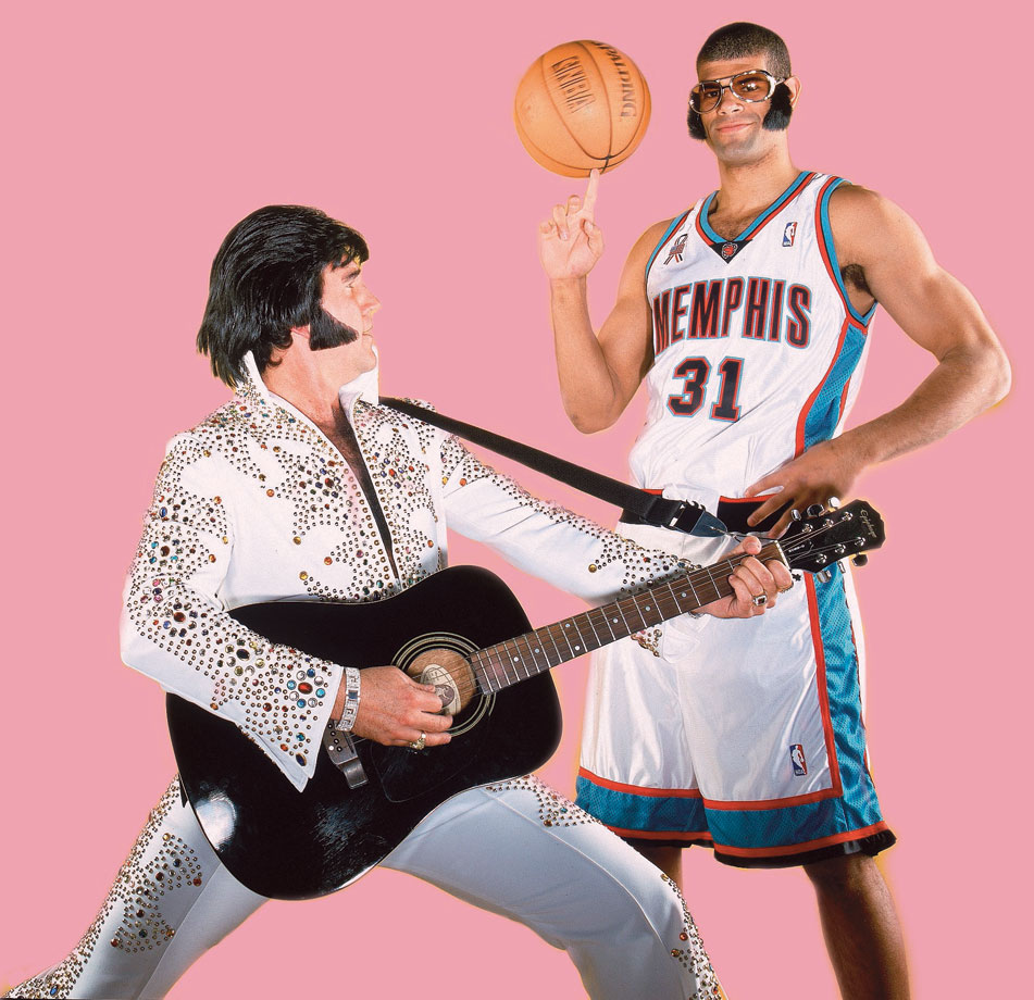 While with the Grizzlies, Shane Battier clowns around with an Elvis impersonator in Memphis, Tenn.