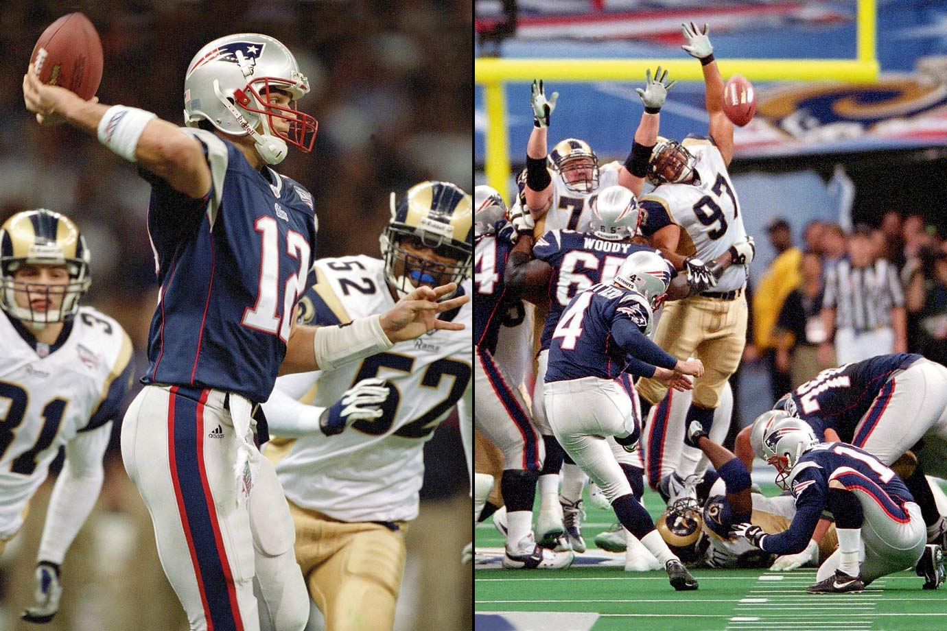 While St. Louis piled up 427 yards of offense, the 14-point favorites held only one lead (3-0) and the Patriots' dynasty was born as Tom Brady set up Adam Vinatieri's 48-yard, game-winning field goal in Super Bowl 36.