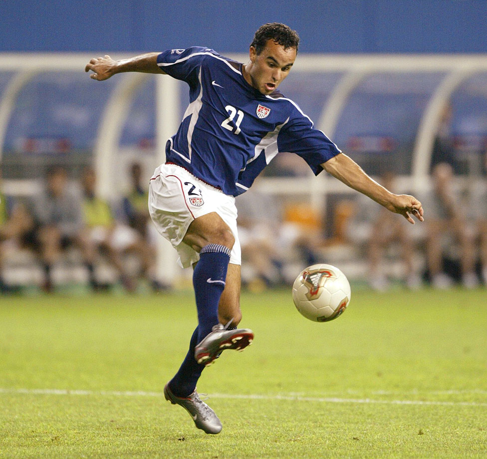 Landon Donovan plays the ball against Poland during the 2002 World Cup in Daejeon, South Korea.