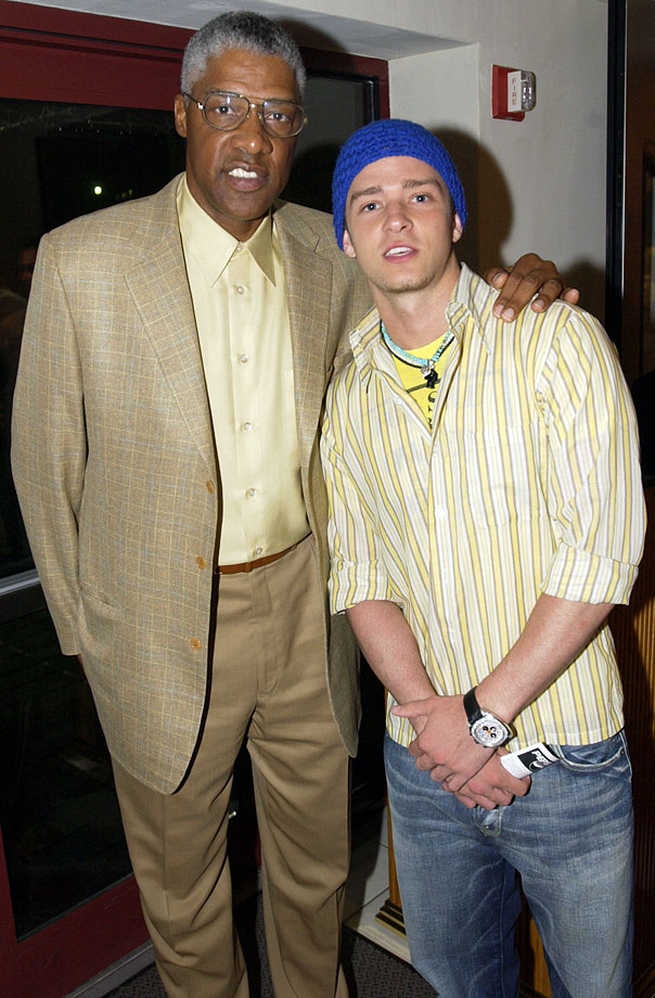 Julius Erving and Justin Timberlake pose together prior to Game 4 of the 2002 NBA Finals between the Los Angeles Lakers and the New Jersey Nets at the Continental Airlines Arena in East Rutherford, NJ, on June 12, 2002.