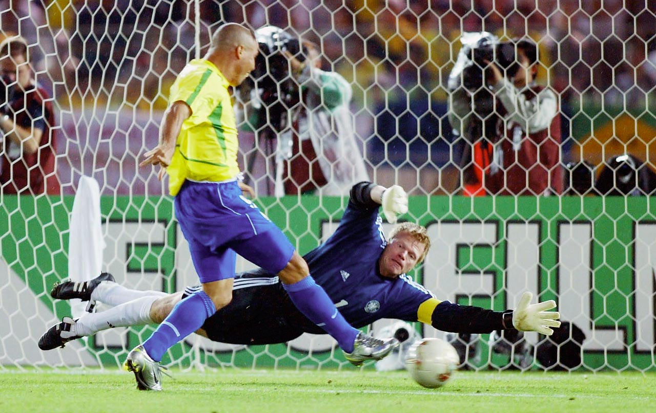 Ronaldo puts German goalkeeper Oliver Kahn's mishandled save into the back of the net for the first goal of the 2002 World Cup final.