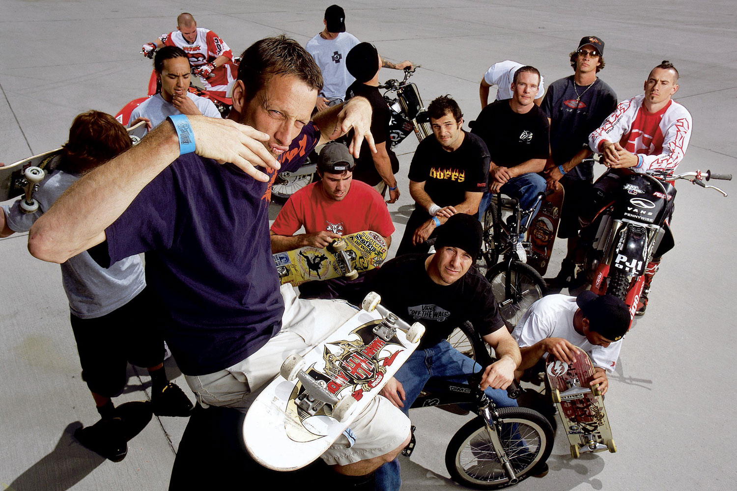 Tony Hawk takes a photo with fellow skateboarders and freestyle bikers in San Bernadino, CA.