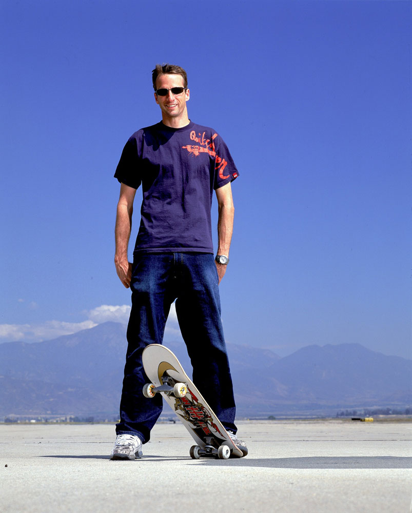 In a series of portraits done for Sports Illustrated, Hawk poses with his skateboard in 2002.