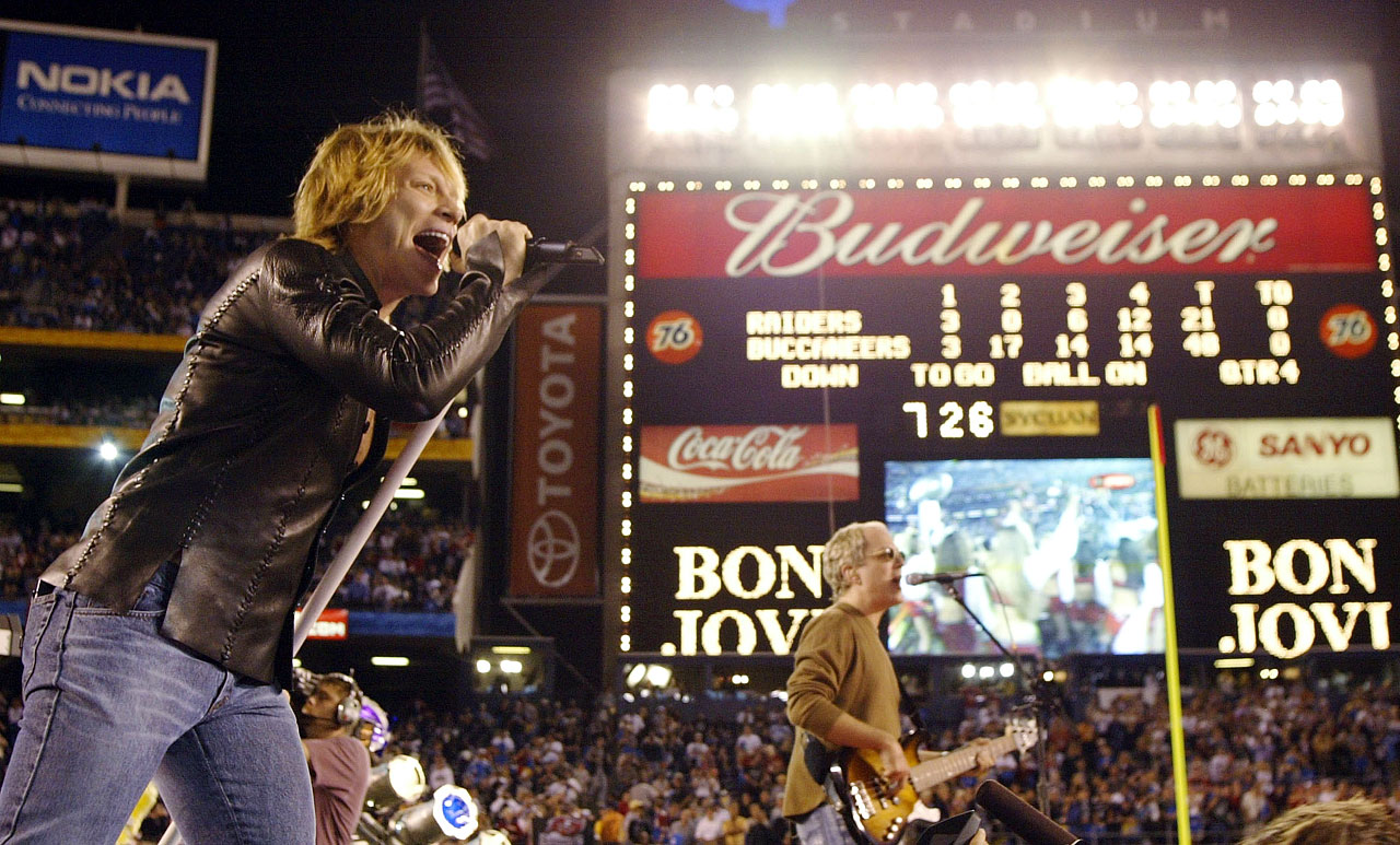Bon Jovi performs after Super Bowl XXXVII between the Tampa Bay Buccaneers and the Oakland Raiders at Qualcomm Stadium in San Diego.