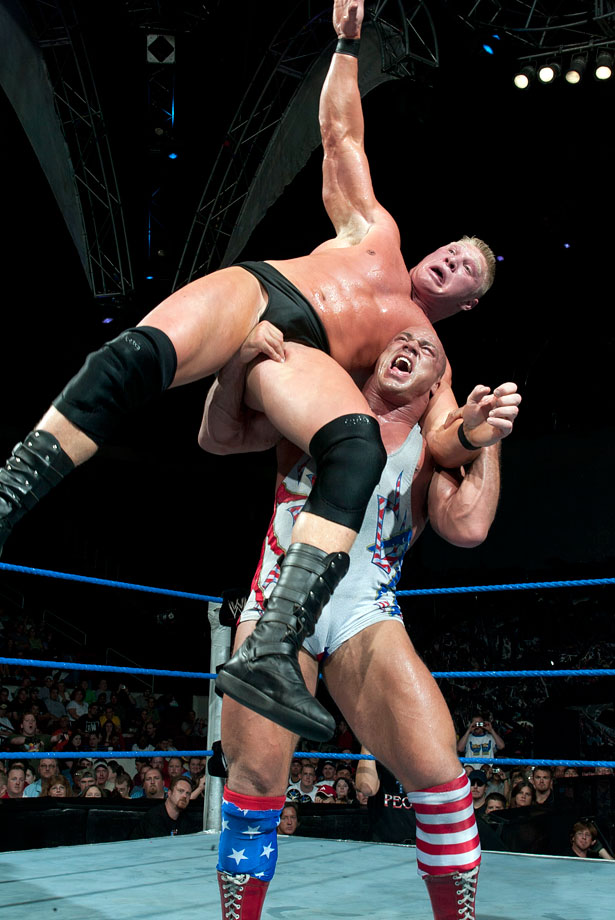 In one of the greatest matches ever contested on SmackDown, Brock Lesnar defeats Kurt Angle in a 60 minute Iron Man match for the WWE Championship.