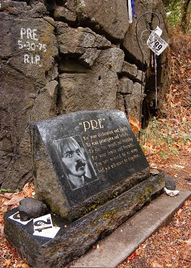 A memorial to track star Steve Prefontaine located on Skyline Blvd. in Oregon.