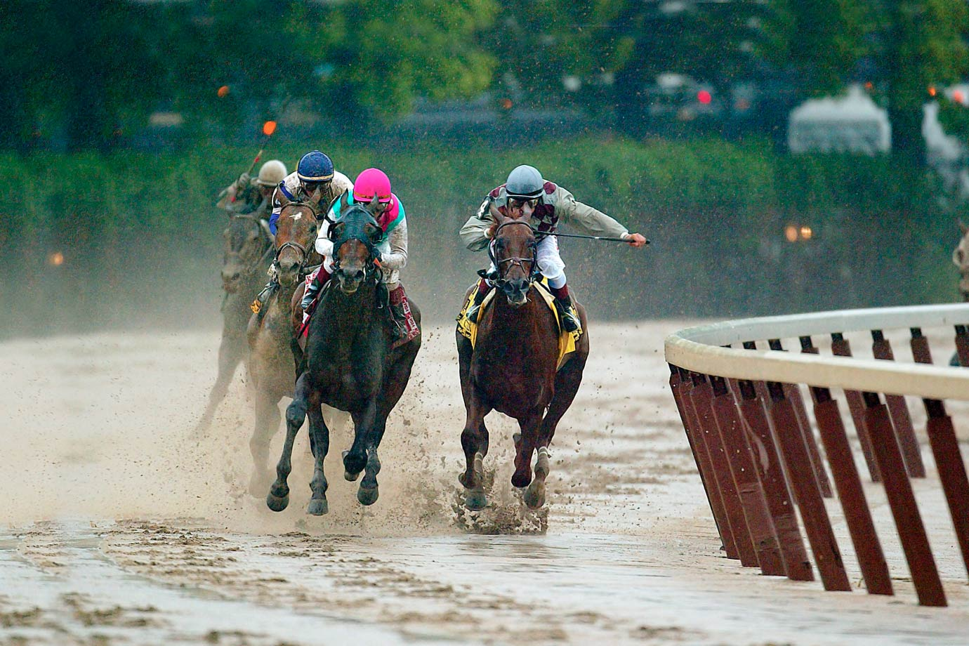 The New York-bred gelding upset favored Empire Maker in the Derby and rolled to a nine-length win at the Preakness. Trainer Bobby Frankel held Empire Maker out of the Preakness to have him rested for the Belmont. A sloppy track and fresh competition was enough to take out Funny Cide (right), who finished third. Empire Maker (left of Funny Cide) won the Belmont Stakes.