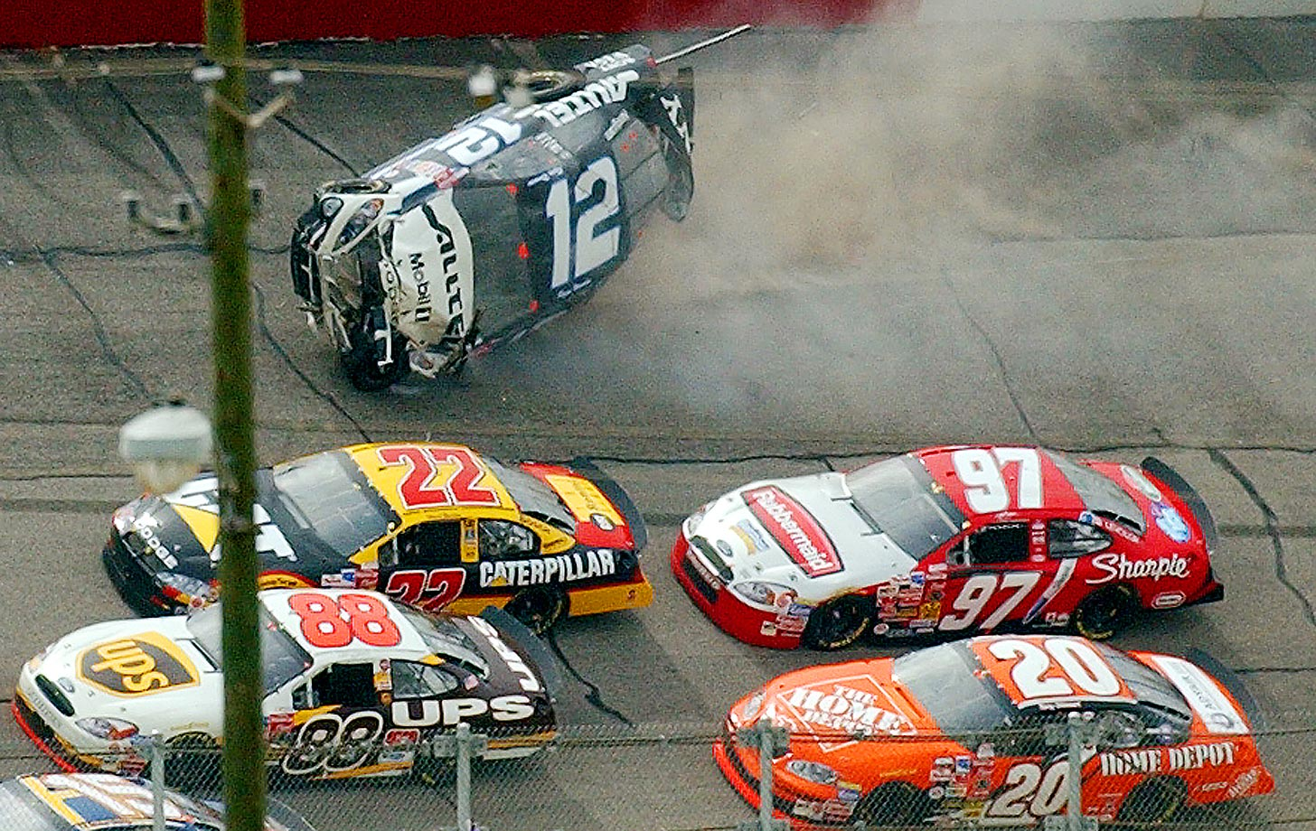 The Big One did not take long, collecting 27 cars on the fourth lap — the largest crash in a Cup race in the modern era. as the field entered turn 1, Ryan Newman blew a tire smashed hard into the Turn 1 wall and almost turned on his side. Mayhem ensued as cars behind him checked up trying to avoid Newman, who spun across the middle of the track and collected an additional 26 cars. Cars involved ranged from no damage to severe damage: Hermie Sadler, Casey Mears, Johnny Benson and some others were out immediately. Rusty Wallace and Jerry Nadeau returned but retired after making a limited number of laps following repairs. Matt Kenseth and race winner Dale Earnhardt, Jr. also had damage, only 16 cars finished with now damage at all.