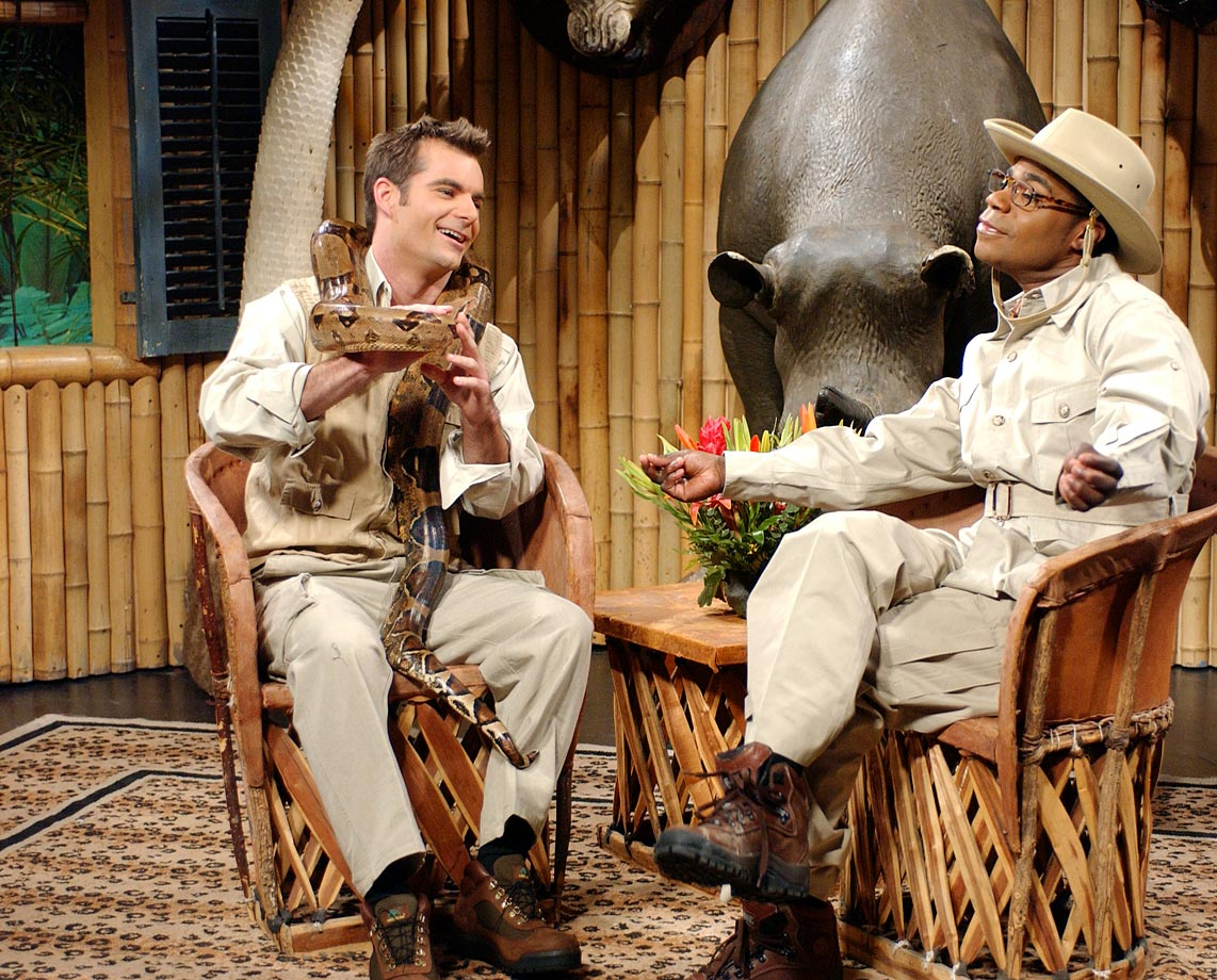 "Jeff Gordon acts alongside Tracy Morgan during the SNL skit ""Brian Fellow's Safari Planet."""
