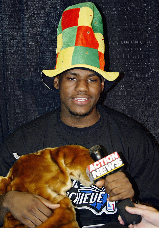 "LeBron goes all ""Cat in the Hat"" while speaking to kids at a Cavaliers Read to Achieve event in 2003."