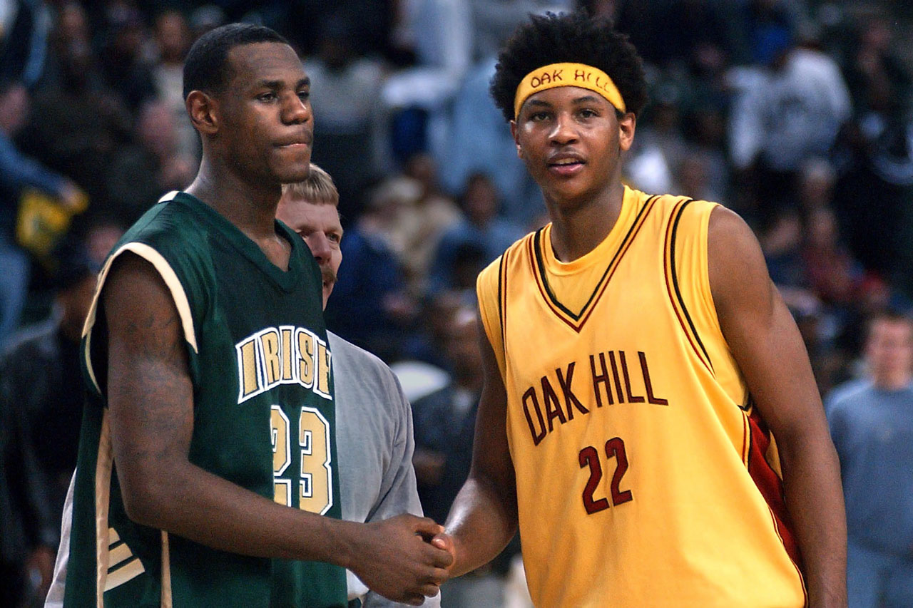 LeBron James and Carmelo Anthony were the two most-coveted high school stars in 2002 -- Anthony a senior at Oak Hill Academy in Virginia (and with a dread-'fro), James a junior at St. Vincent-St. Mary's in Ohio. Anthony went on to win a national championship at Syracuse before being selected by Denver with the No. 3 pick in 2003. LeBron jumped straight to the pros in '03 as the top overall pick.