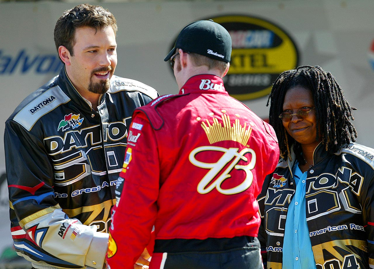 Grand Marshal Ben Affleck is introduced to Dale Earnhardt Jr. along with honorary starter Whoopi Goldberg at the NASCAR Nextel Cup Daytona 500 on Feb. 15, 2004 at the Daytona International Speedway in Daytona Beach, Fla.