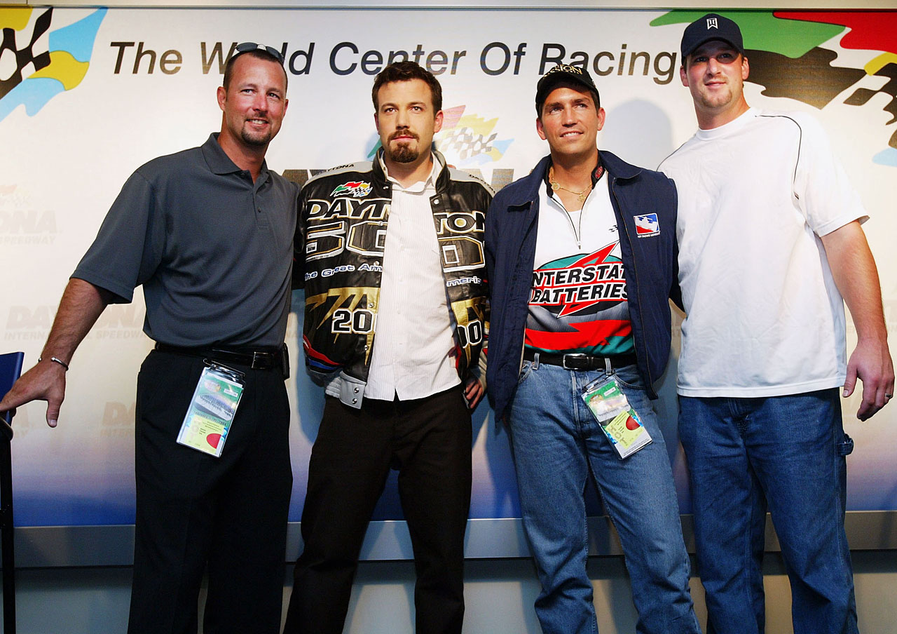 Grand Marshal Ben Affleck and Jim Caviezel pose with Boston Red Sox pitchers Tim Wakefield (left) and Derek Lowe (right) prior to the NASCAR Nextel Cup Daytona 500 on Feb. 15, 2004 at the Daytona International Speedway in Daytona Beach, Fla.