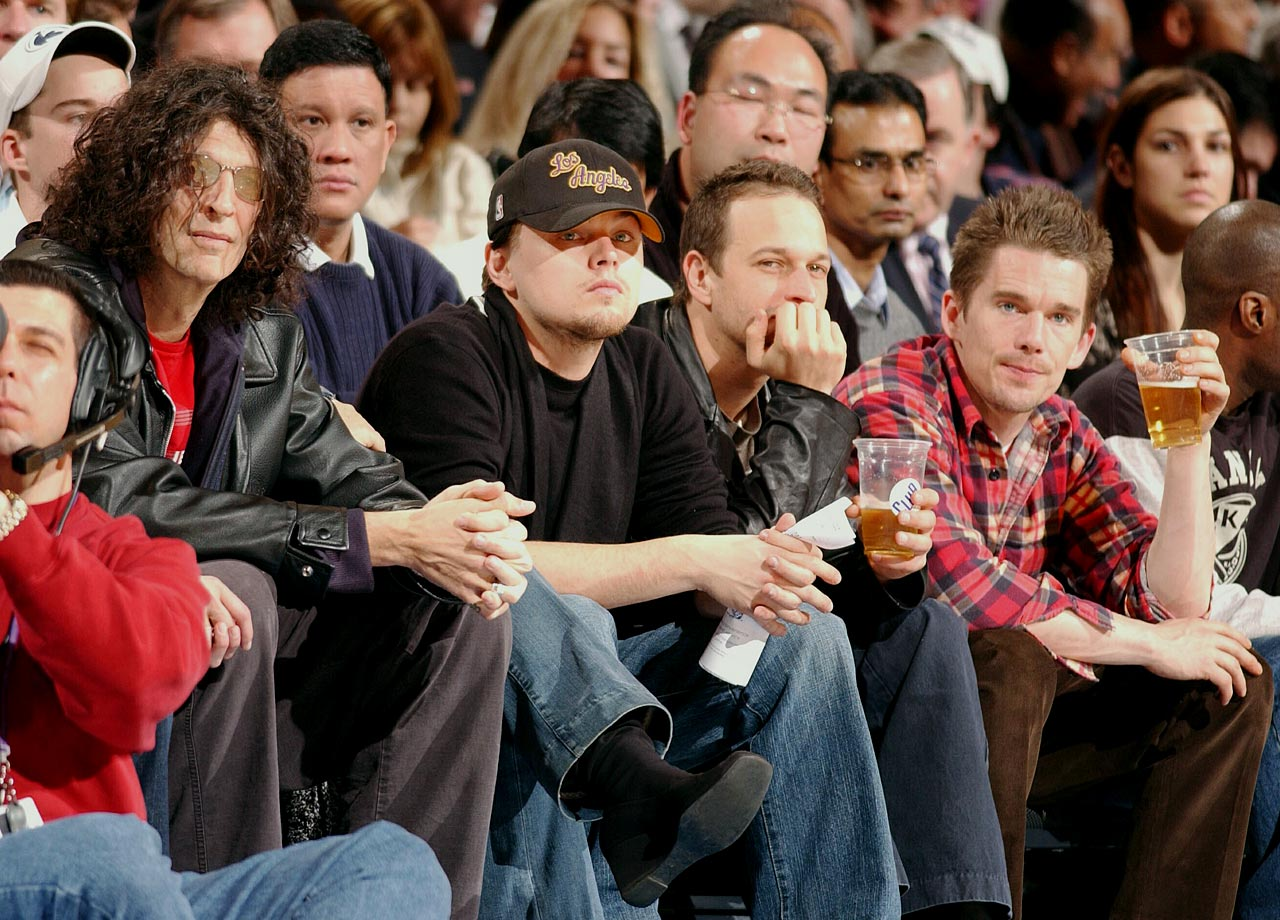 Howard Stern, Leonardo DiCaprio, Josh Charles and Ethan Hawke watch the New York Knicks take on the New Jersey Nets at Madison Square Garden in New York City.