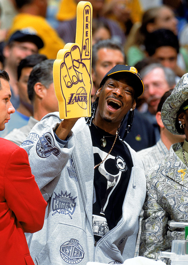 Snoop Dogg cheers for the Los Angeles Lakers during Game Six of the Western Conference Semifinals against the San Antonio Spurs on May 15, 2004 at Staples Center in Los Angeles.