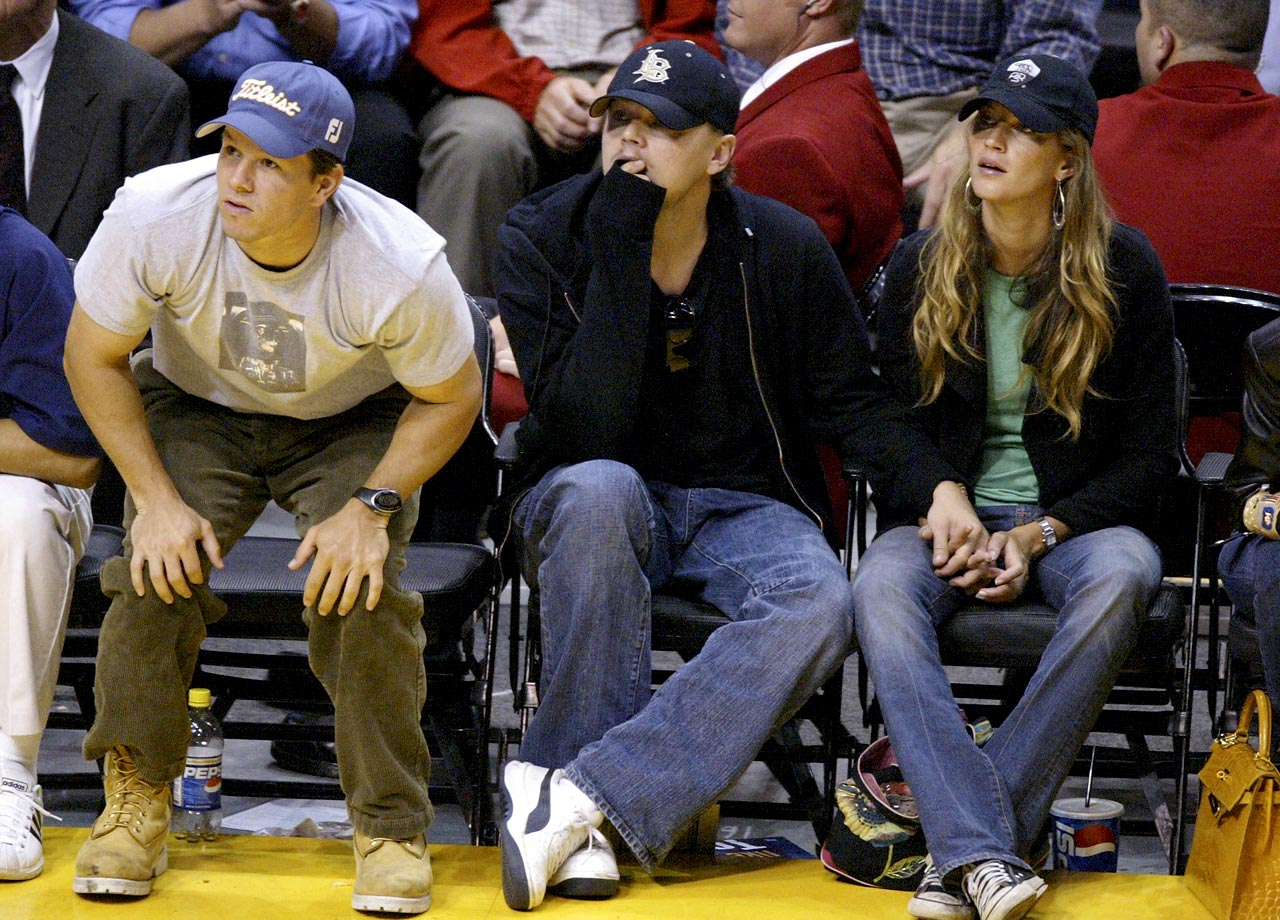 Mark Walberg, Leonardo DiCaprio and Gisele Bundchen attend Game 4 of the Western Conference Finals between the Los Angeles Lakers and Minnesota Timberwolves at Staples Center in Los Angeles.