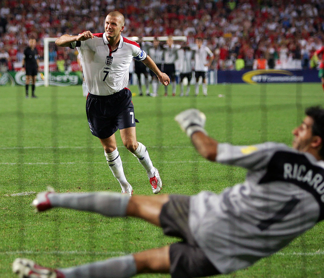 Beckham sent an embarrassingly high shot over the bar during the 2004 European Championship as the quarterfinal went to penalty kicks. Beckham's shank cost his team the game as Portugal won the shootout 6-5. England's Euro 2004 run came to a screeching halt and Beckham was stuck defending his position as captain.