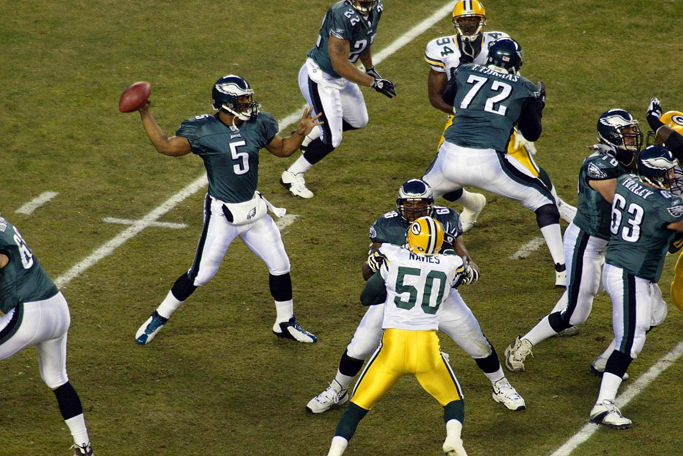 The Eagles trailed by a field goal with 1:12 left when they faced a fourth-and-26 at their 25-yard line. There aren't many entries in the playbook for such situations. But Donovan McNabb found Freddie Mitchell between defenders over the middle for 29 yards, and Philadelphia continued the drive for a tying field goal, then kicked another one in overtime to win.