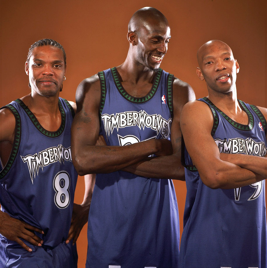 After years of first-round playoff exits, Kevin Garnett was joined by Latrell Sprewell and Sam Cassell for the 2003-04 season. KG was named NBA MVP after averaging 21 points, 12 rebounds and 5 assists. The Timberwolves advanced to the Western Conference Finals before bowing out to the Lakers.