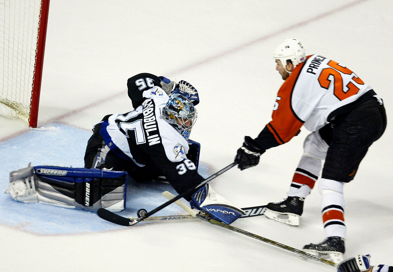 Clinging to a one-goal lead, Nikolai Khabibulin stopped Keith Primeau on a second-period breakaway and the Lightning hung on to win their first Game 7 and advance to their first Stanley Cup Final. Former Flyer Ruslan Fedotenko scored a deflected power-play goal at 16:46 of the first period and Frederik Modin netted the winner at 4:57 of the second.