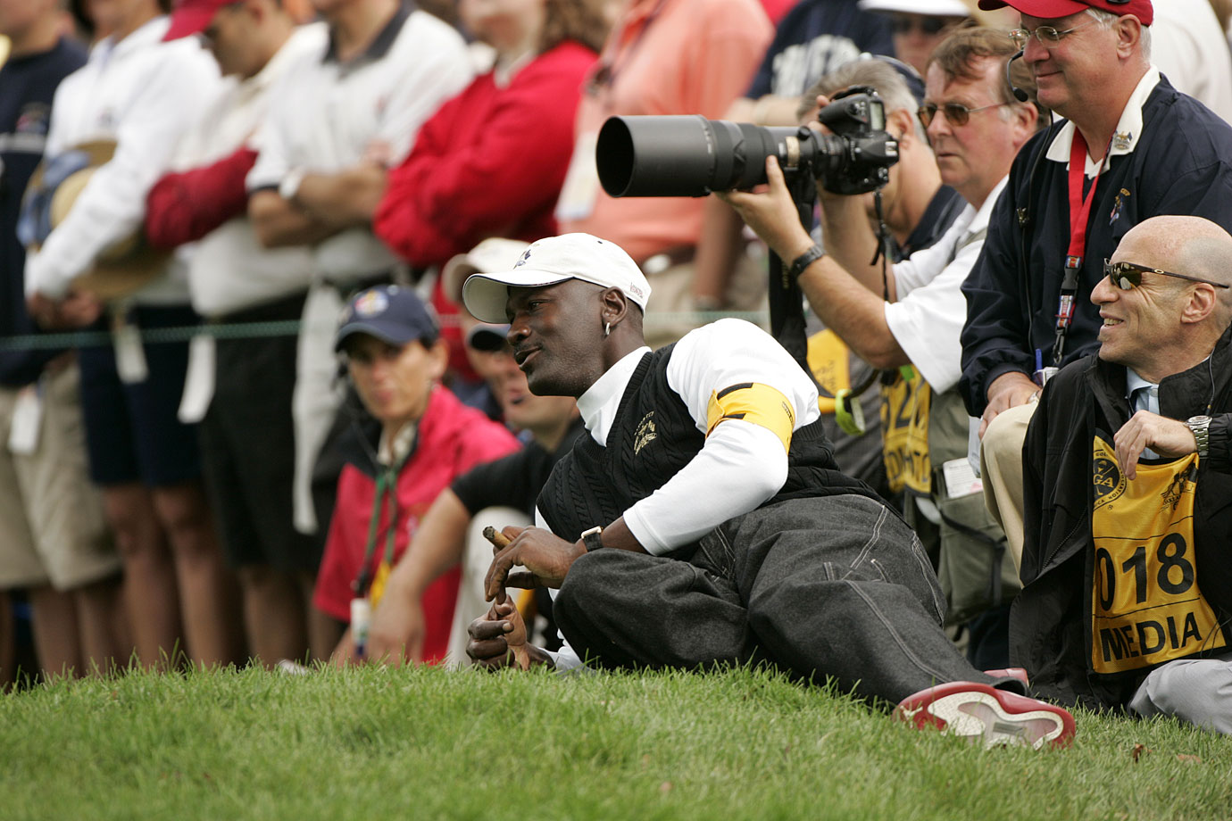 Michael Jordan catches some action at the 35th Ryder Cup in September 2004 at the Oakland Hills Country Club in Bloomfield Township, Mich. An avid golfer and fan of the game, Jordan has attended every Ryder Cup since 1995.