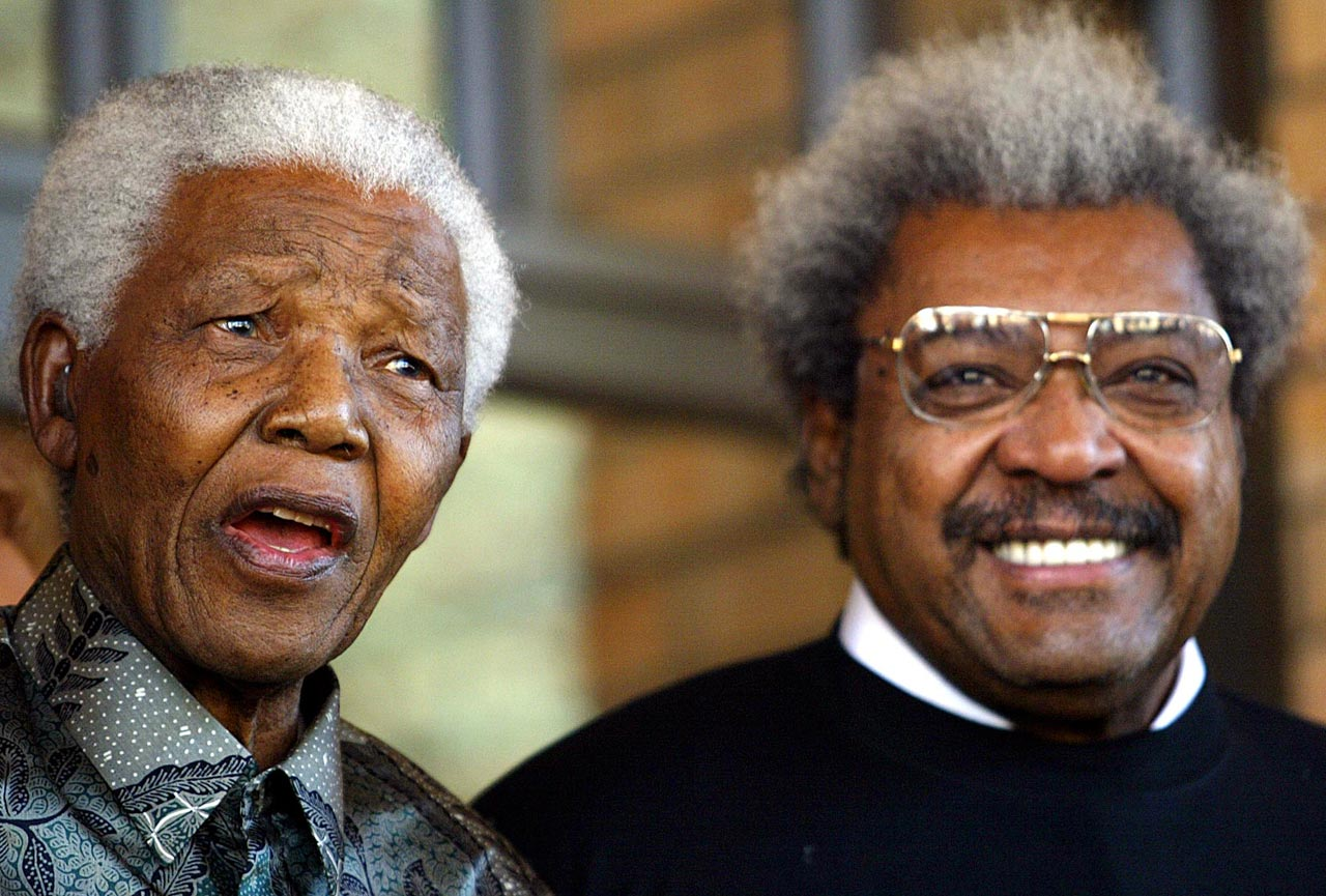 Mandela speaks at his Foundation offices in Johannesburg after meeting with boxing promoter Don King.
