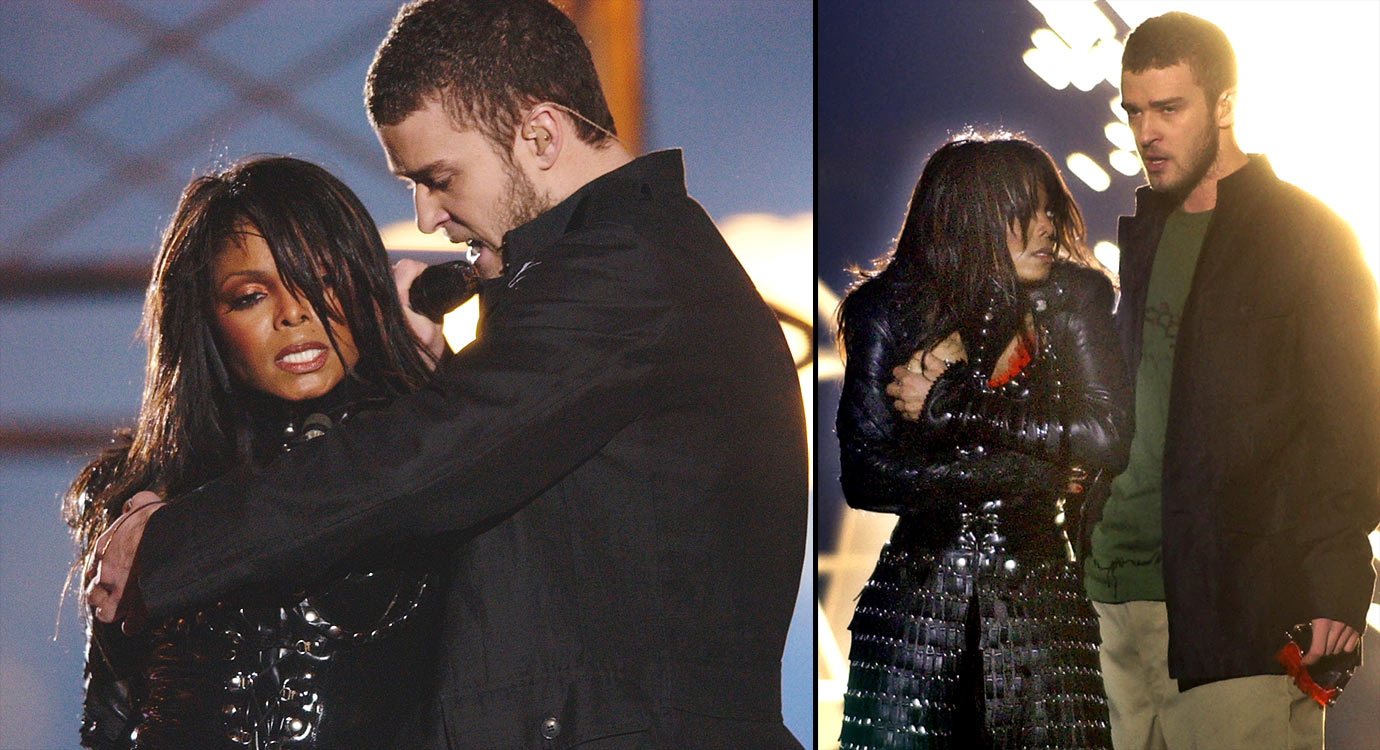 "No one seems to recall that Jessica Simpson, Nelly, P. Diddy and Kid Rock also performed at this particular halftime show. That's because Super Bowl XXXVIII will always be remembered for Janet Jackson's ""wardrobe malfunction,"" when Justin Timberlake ripped off part of Jackson's outfit at the very end of ""Rock Your Body"" to reveal her bare breast. The incident, dubbed ""Nipplegate,"" led to a widespread debate and a major crackdown on indecency in broadcasting. Consequently, MTV was banned from future halftime gigs and CBS absorbed a $550,000 fine."
