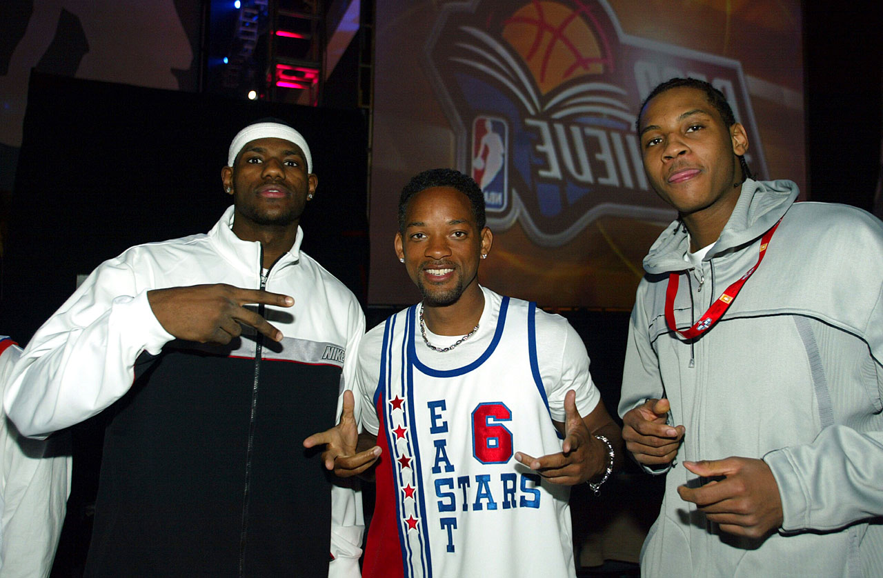 LeBron James, Will Smith and Carmelo Anthony pose backstage at the NBA All-Star Read to Achieve Celebration in Los Angeles.